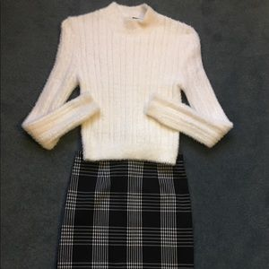 White fuzzy sweater plaid pencil skirt outfit xs